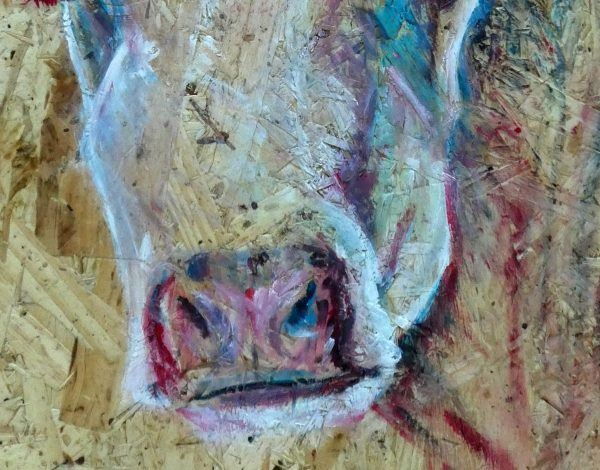 cattle painting, colourfu cow art, textured farm animal home decor
