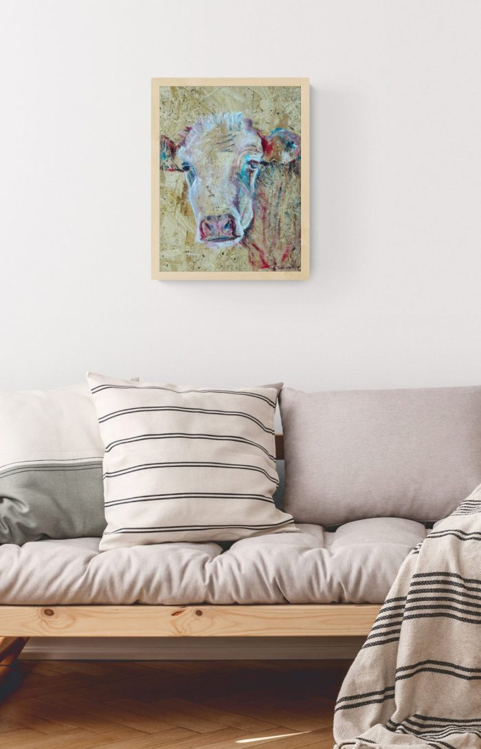 Cow wall art with natural wood frame by Caroline Skinner Art