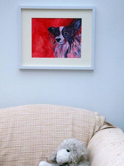 Papillon dog wall art, red animal wall decor, toy dog breed home decor