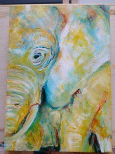 cute yellow elephant art, elephant painting, whimsical elephant art