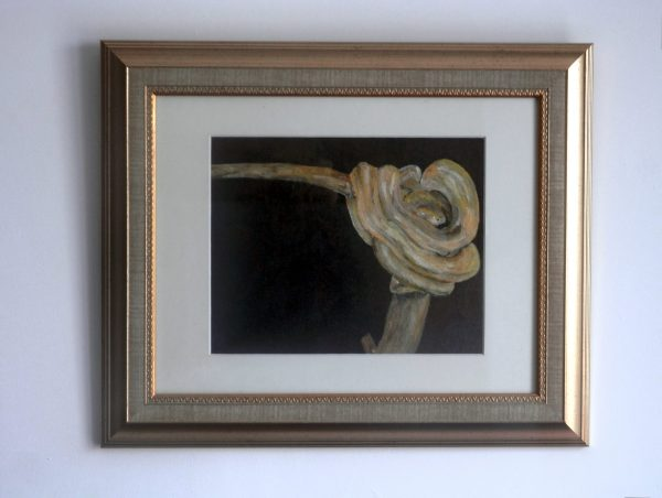Yellow adder snake, camouflaged reptile, yellow office art, study decor, gold-effect framed art