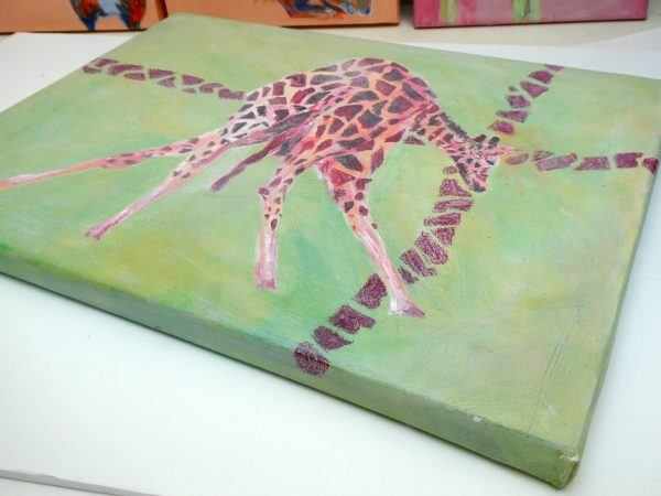 red and green home decor, giraffe painting, wildlife art, green living room art