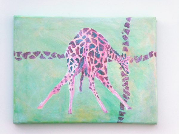 Green and red giraffe art, gift for giraffe lovers, green home decor, wildlife canvas art, giraffe crossing