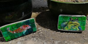 Frog and koi carp garden mosaic designs