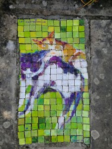Cat mosaic for garden patio