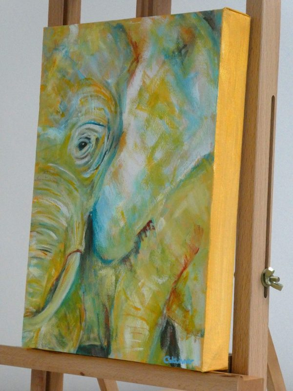 Close up of unframed yellow elephant box canvas