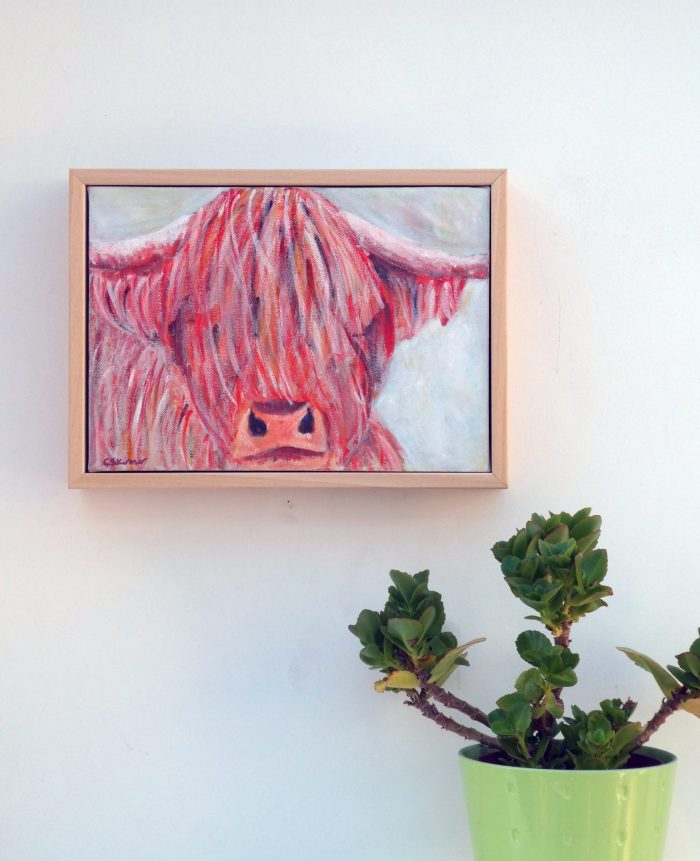 Framed Highland Cow Painting