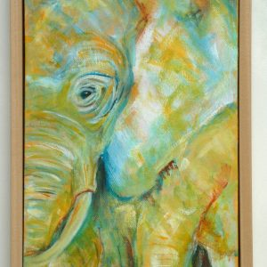 Framed yellow elephant painting