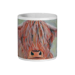 Colourful highland cow mug