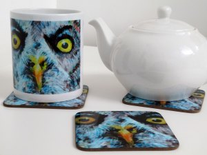 Owl mug and coaster