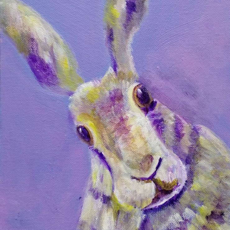 Purple hare print