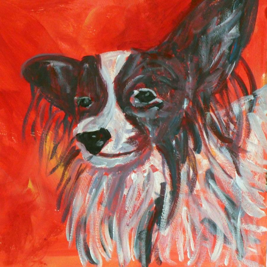 Red Papillon dog art
