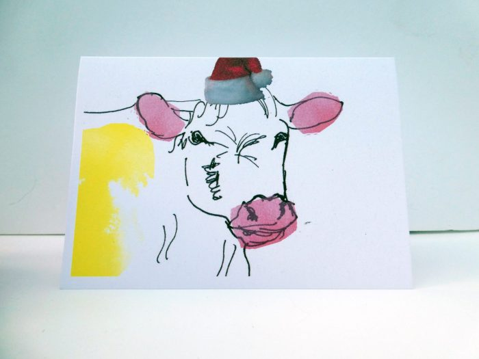 Funny Cow Christmas card, cow in a Santa hat