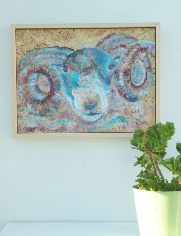 Blue ram framed artwork