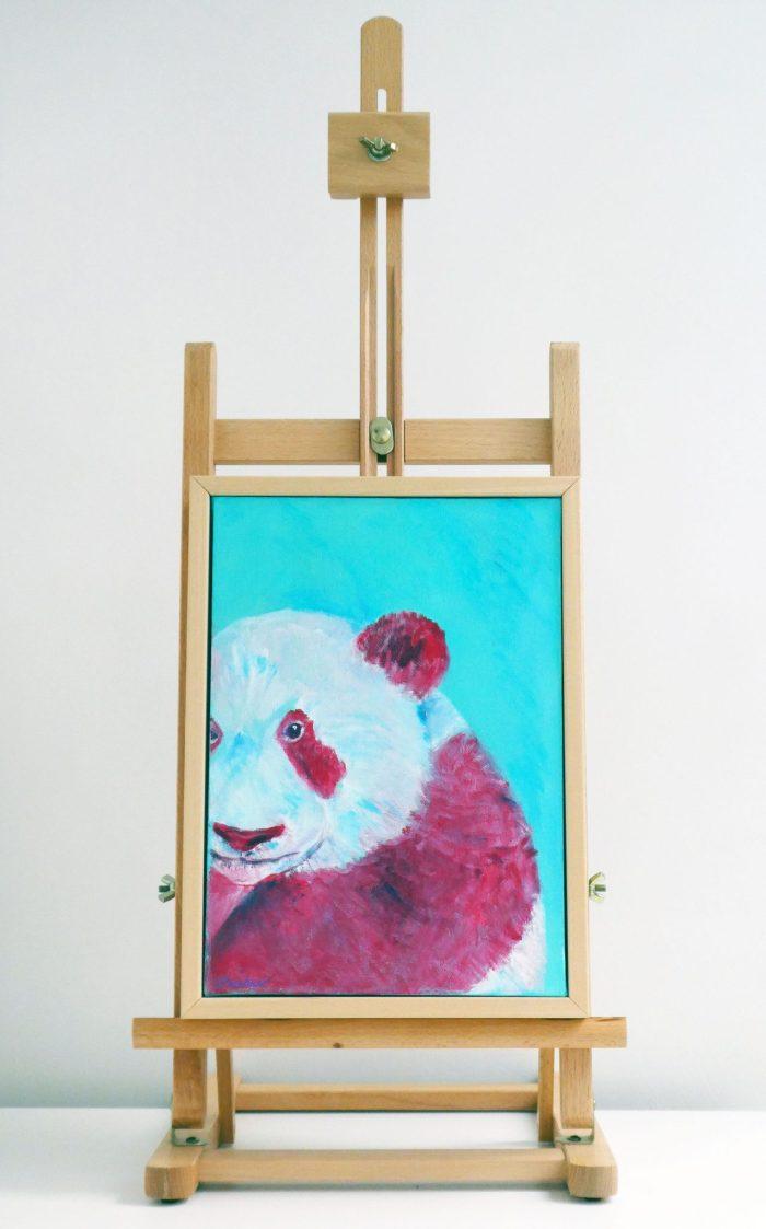 panda wall art on easel