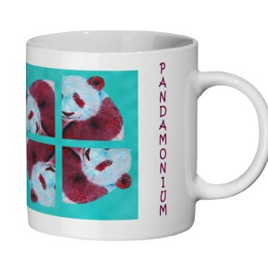 Teal and red panda mug