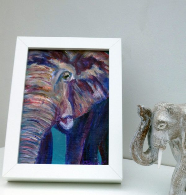 small purple and teal elephant canvas art