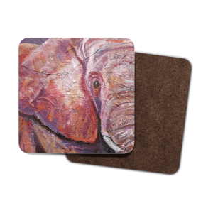 Set of 4 pink and purple elephant coasters
