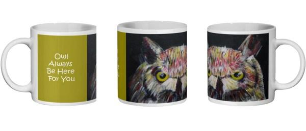 Colourfulowl mug for bird lovers