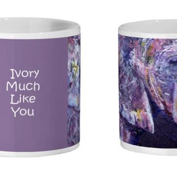 Purple elephant mug for coffee drinkers
