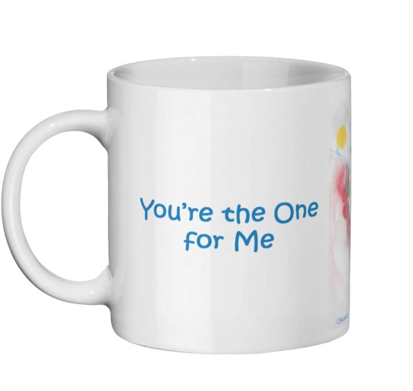 "Blue Mug gift - ""You're the One for Me"""