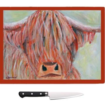 Higlhand cattle chopping board, cow food platter, heatproof pot stand
