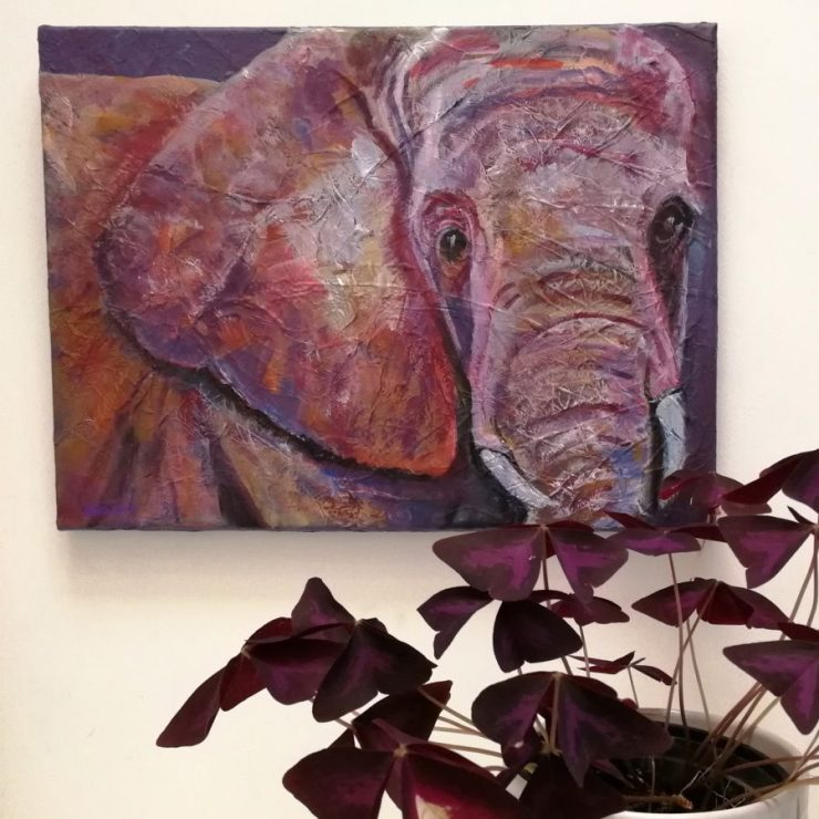 Purple elephant art