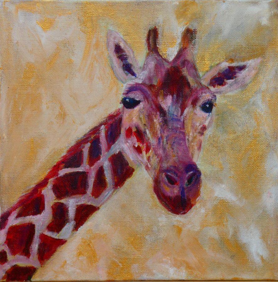 Gold giraffe art