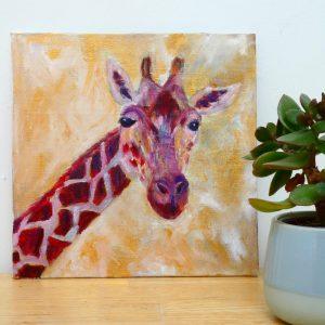 Gloria the Giraffe - red and gold giraffe painting