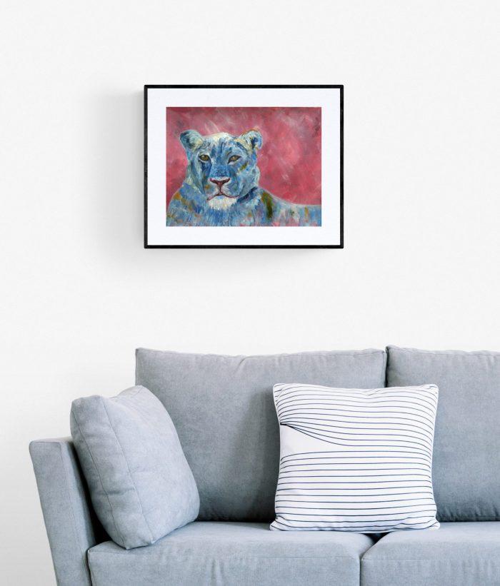Blue lion painting