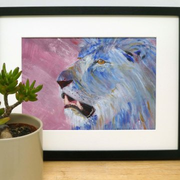 Framed blue lion painting