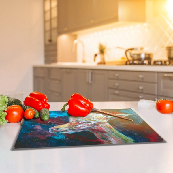 Red and blue alpaca glass chopping board