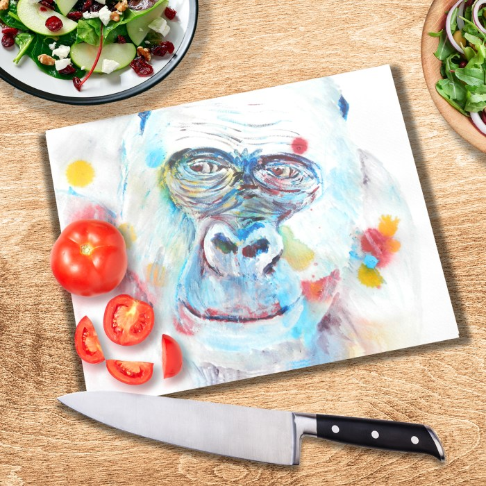 Blue glass chopping board with gorilla image