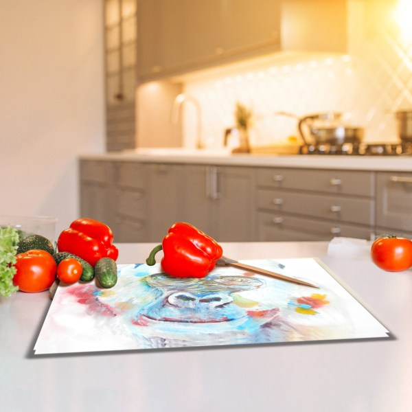 Tempered glass cutting board with gorilla illustration