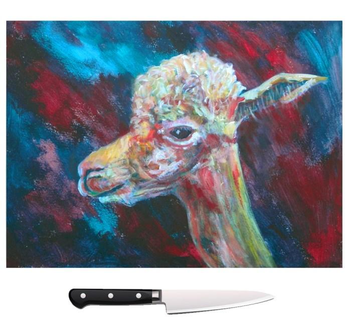 Blue and red alpaca glass cutting board