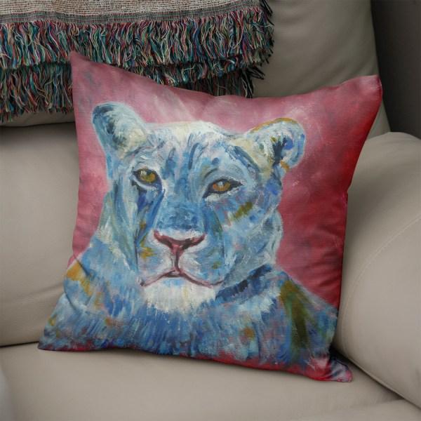 Blue and dusky pink lion cushion