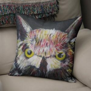 Colourful owl faux suede cushion
