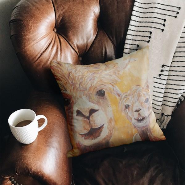 Orange llam cushion in luxury faux suede