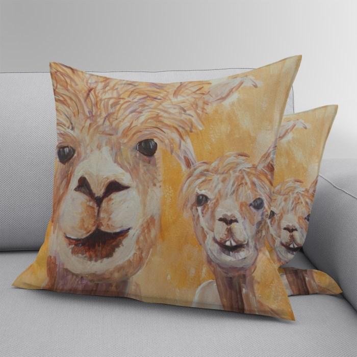 Orange llm cushion in faux suede