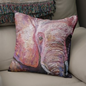 Ultraviolet elephant cushion in luxury faux suede