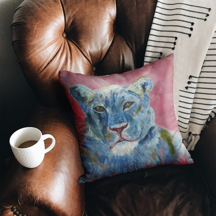 Luxury suedette cushion with blue lion design