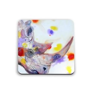 Purple rhino glossy coasters