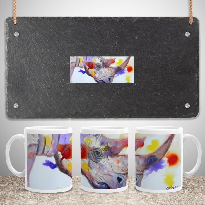 Purple rhino 11oz coffee mug