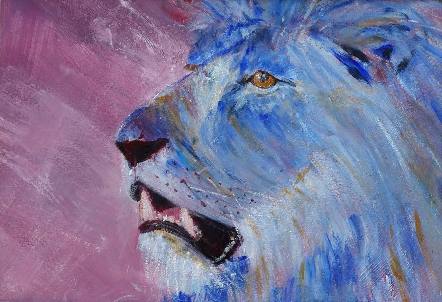 Blue lion acrylic painting