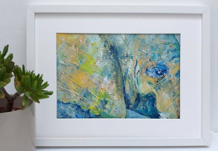 Green ad blue elephant painting