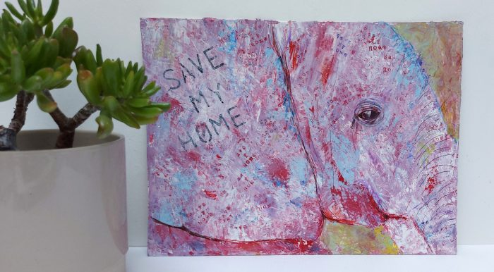 """Lilac and blue elephant painting with """"save my home"""" written across it"""