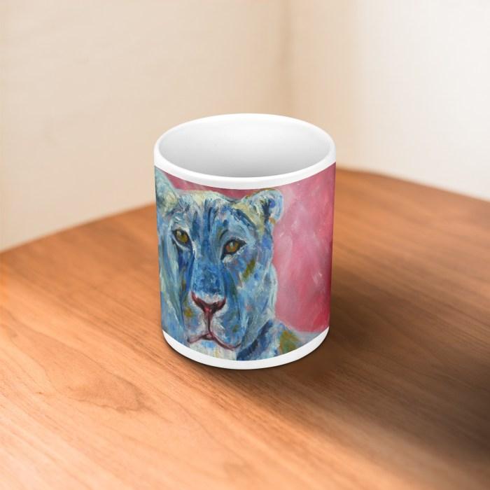 Blue and pink glossy lion mug