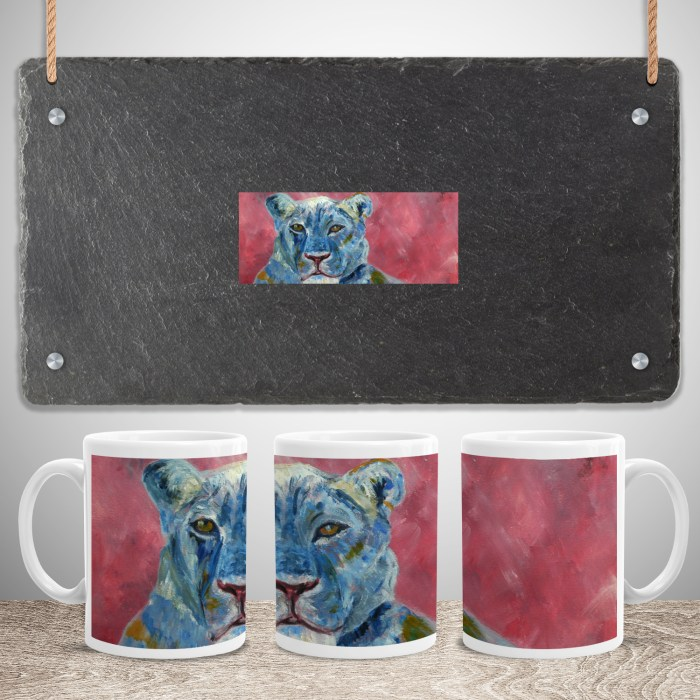 Blue and dusky pink lioness tea mug