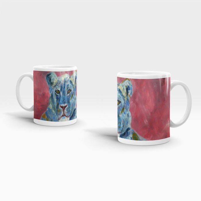Blue and pink ceramic lion mug