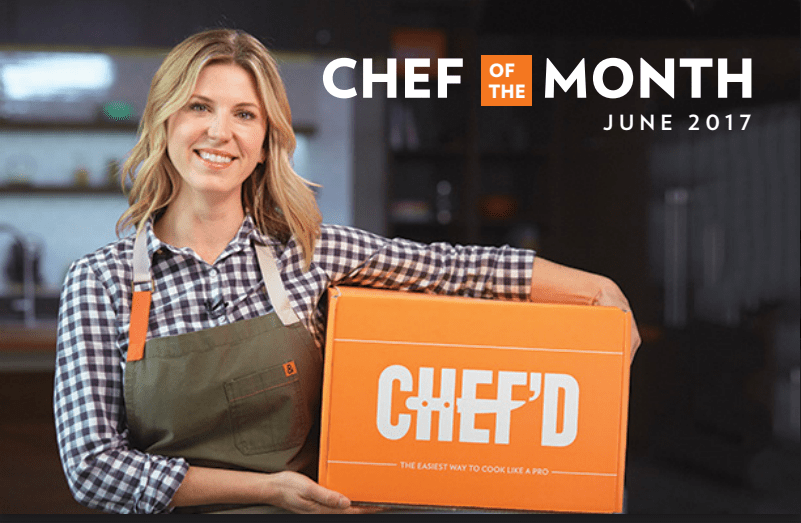 Image of Chef Casey Thompson holding a meal kit box for Chef of the Month Feature for celebrity chef program.